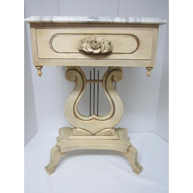 Marble Top Lyre Coffee Table: French Provincial Marble Top Lyre Harp Based Side Table