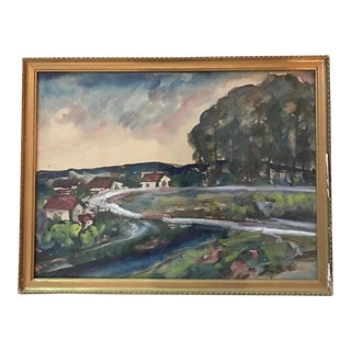 French Provincial Landscape Watercolor Painting, Signed