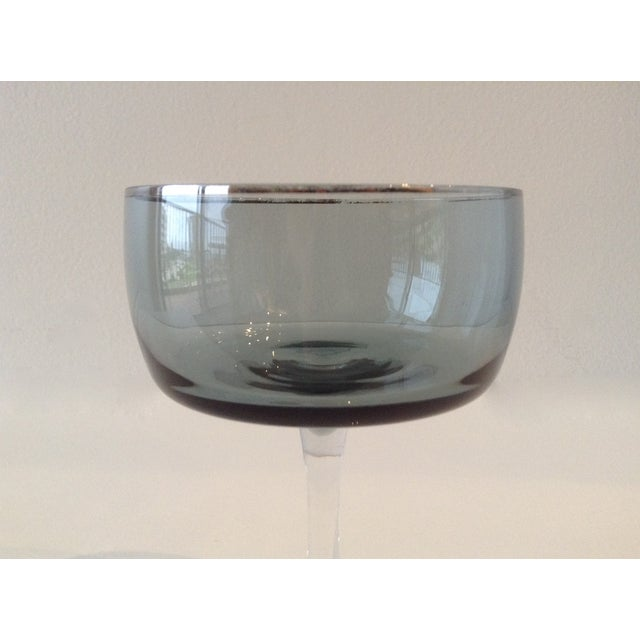 Silver Rimmed Smoke Blue Champagne Coupes - S/4 - Image 6 of 7