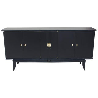 """1940s Vintage French Art Deco """"Black Lacquer"""" Sideboard /Buffet"""