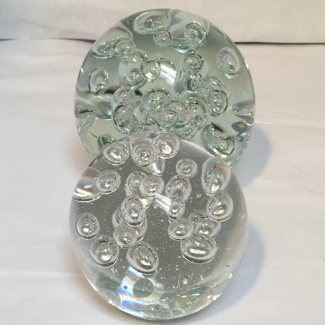 Image of Glass Orbs with Air Bubbles - Pair