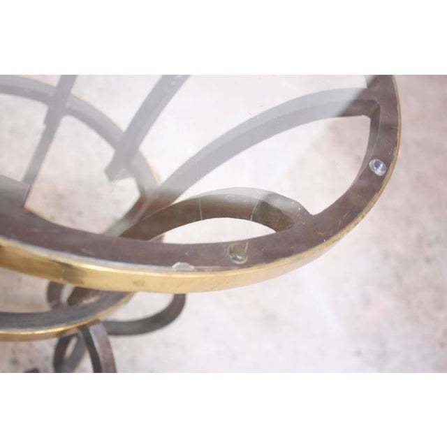 Hollywood Regency Style Brass and Steel Center Table after Maitland-Smith - Image 6 of 9