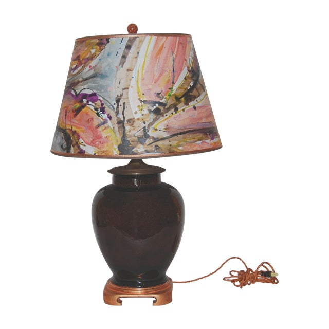 Tortoise Glaze Lamp W/Hand Painted Lampshade - Image 1 of 5