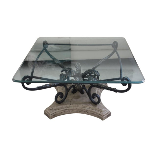 Elegant Glass And Metal Coffee Table: Elegant Beveled Glass Top Coffee Table