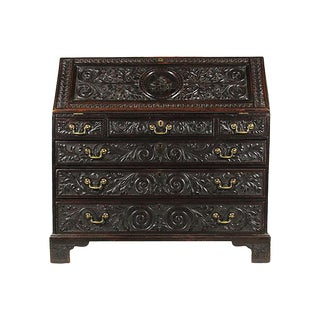19th Century English Carved Slant-Front Desk