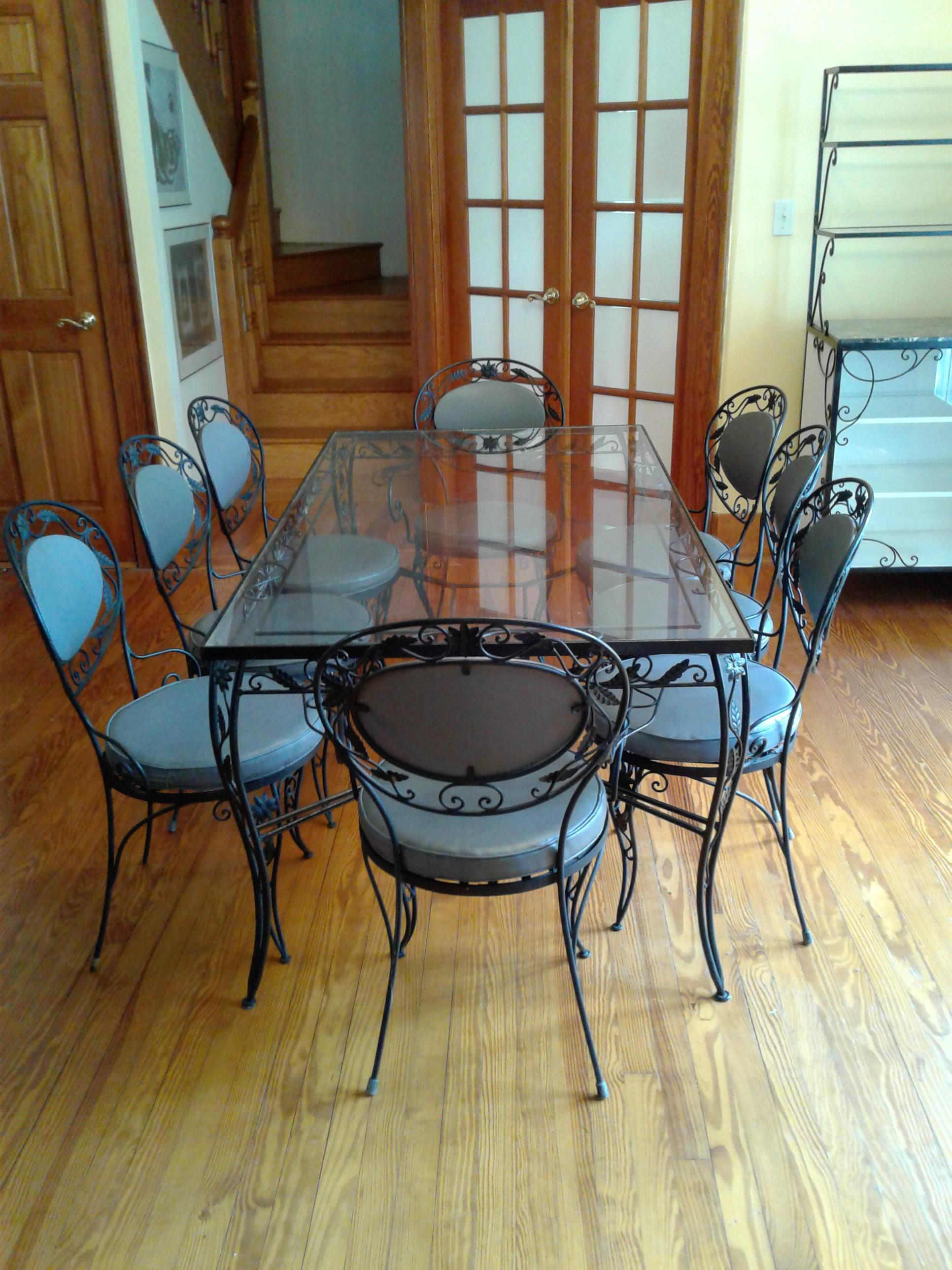 wrought iron and glass dining room set chairish wrought iron kitchen table sets dining room black rod