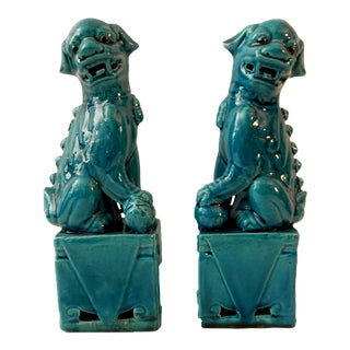 Turquoise Foo Dogs - a Pair