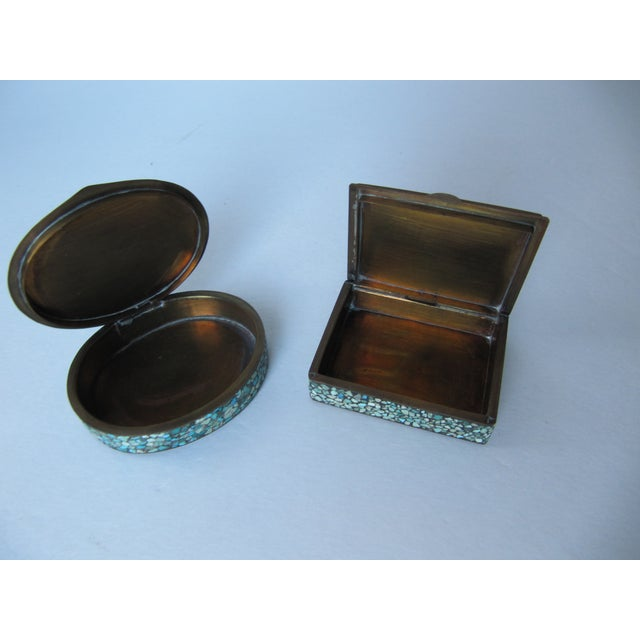 Turquoise Eggshell & Brass Mosaic Boxes - A Pair - Image 4 of 4