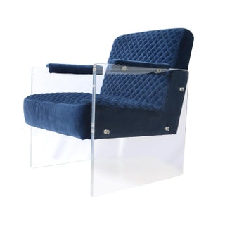 Pasargad Tribecca Collection Acrylic & Velvet Accent Chair