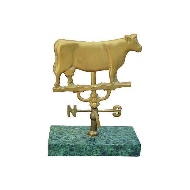 Vintage Brass Cow Table-Top Weathervane - Image 1 of 4