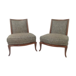 Modern Gray Slipper Lounge Chairs - A Pair
