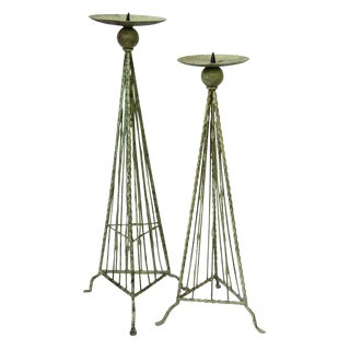 Green Metal Candle Holders - A Pair
