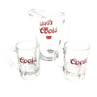 Vintage Coors Beer Pitcher & Mugs - Set of 3