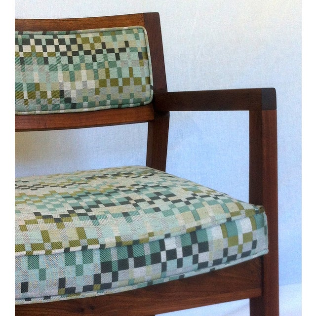 Mid-Century Walnut Upholstered Armchairs - A Pair - Image 6 of 7