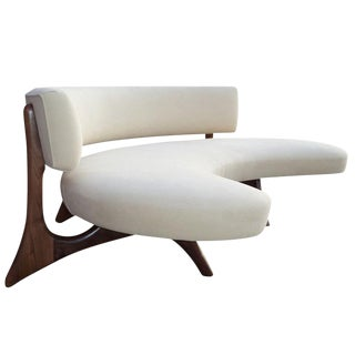 Mid-Century Floating Curved Walnut Sofa