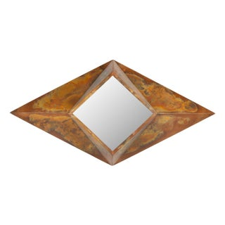 Contemporary Copper Diamond Mirror