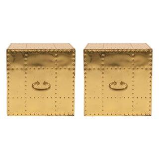 Sarreid, Ltd. Polished Brass Studded Cube Box Tables - a Pair