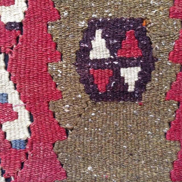 Vintage Red & Brown Kilim Pillow - Image 3 of 5