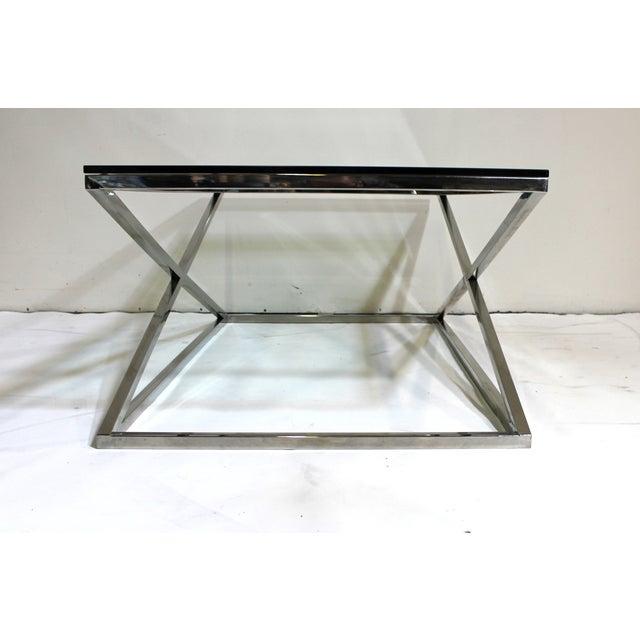 "Glass Coffee Table Chrome Base: Vintage Chrome ""X"" Base Glass Top Coffee Table"