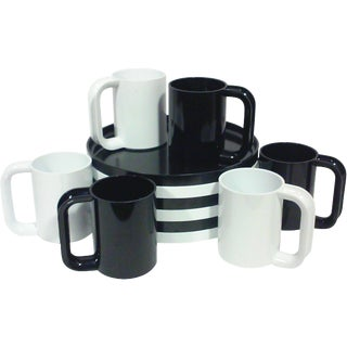 Black and White Melamine Dishes - Set of 12