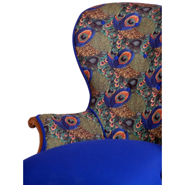 Victorian Peacock Wing Chairs - A Pair - Image 5 of 5