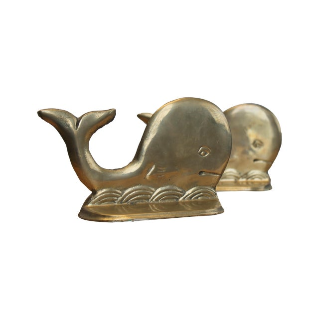 Image of Vintage Brass Whale and Wave Bookends