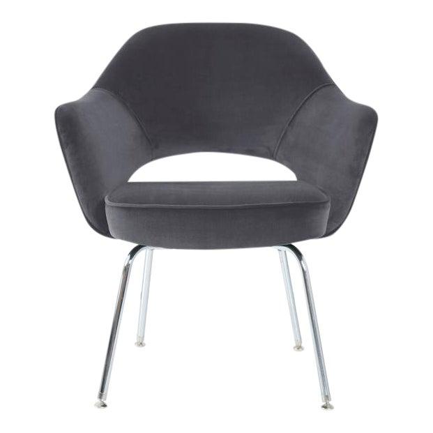 Saarinen Executive Armchairs in Gunmetal Grey Velvet, Set of Six - Image 1 of 4