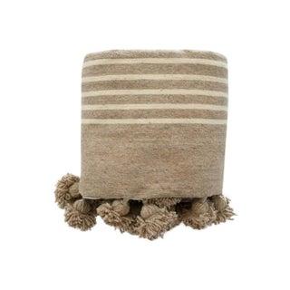 Pom Pom Moroccan Striped Blanket