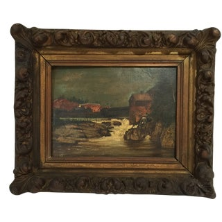 Very Small 19th Century Landscape Oil Painting