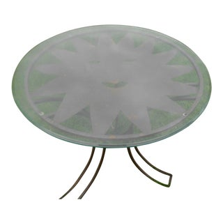 Wrought Iron & Glass Sun Face Patio Table