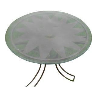 Wrought Iron & Glass Sun Face Patio Table