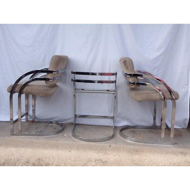 Image of Milo Baughman Cantilevered Chrome Bar Stools - Set of 3