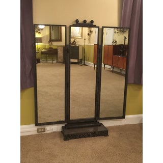 BEAUTIFUL JULES BUOY ART DECO WROUGHT IRON TRIFOLD FLOOR STANDING MIRROR