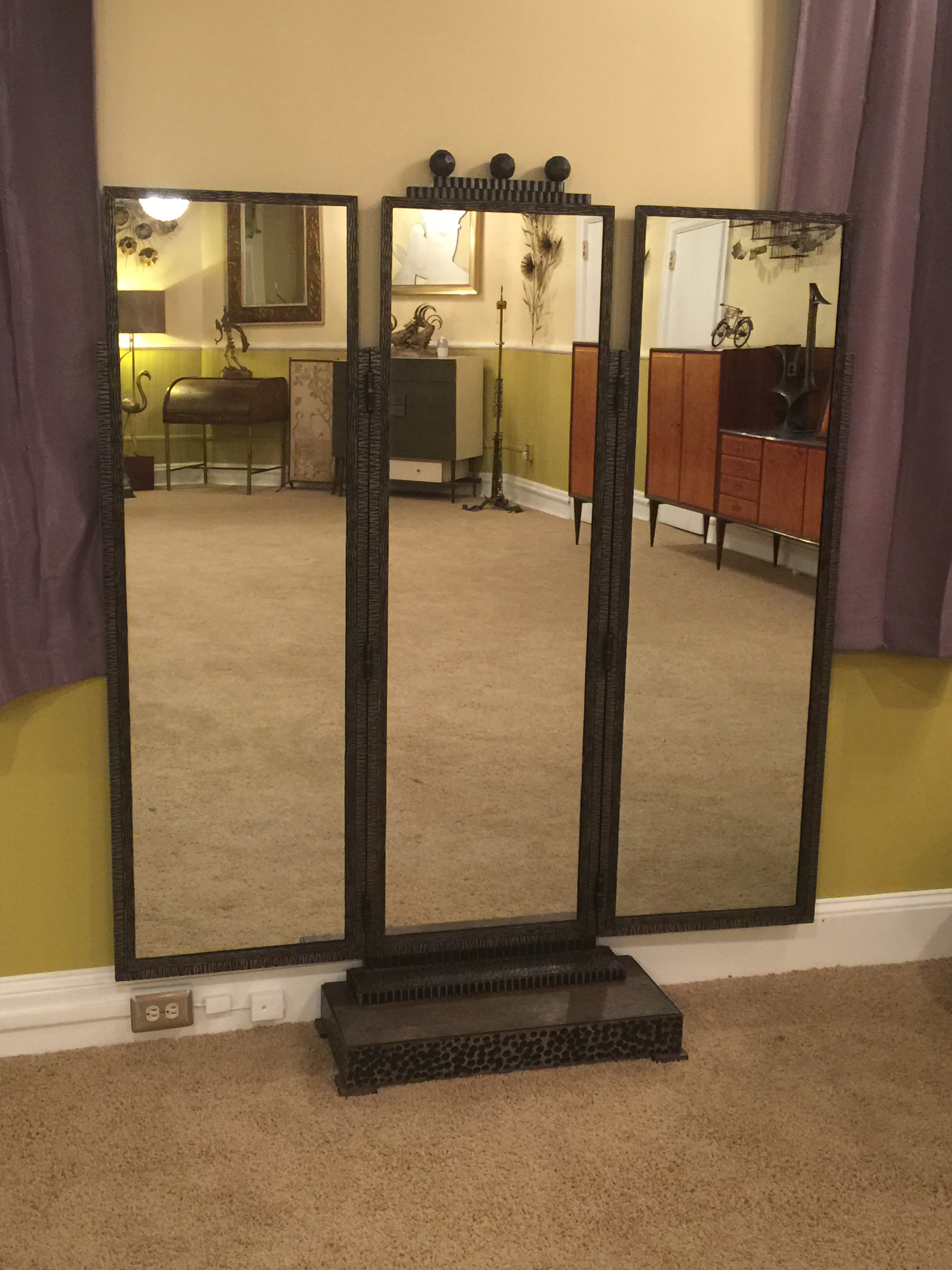 BEAUTIFUL JULES BUOY ART DECO WROUGHT IRON TRIFOLD FLOOR STANDING MIRROR    Image 2 Of 11