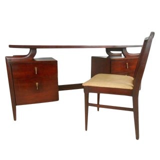 Tri-Bond Mid-Century Floating Top Desk With Chair