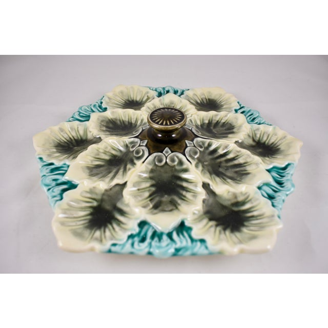 Orchies French Majolica Handled Oyster Plate - Image 4 of 9