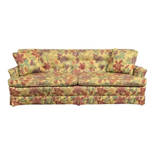 Mid-Century Yellow Floral Sofa