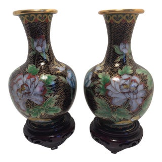 Pair Of Chinese Cloisonné Vases In Original Box
