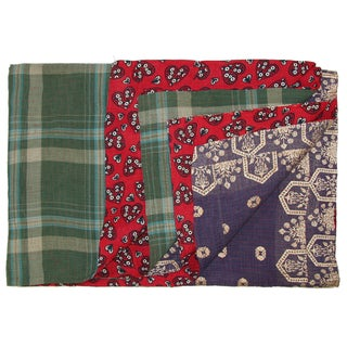Vintage Plaid Kantha Quilt
