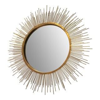 Mid-Century Gold Sunburst Wall Mirror