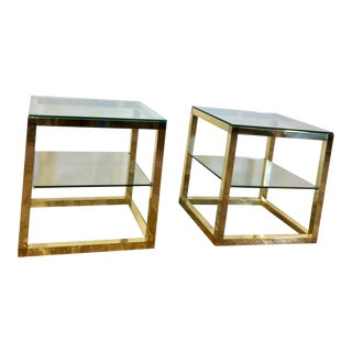 Henredon Brass and Glass End Tables