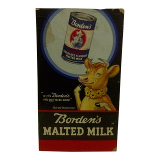 "Vintage Borden's Malted Milk Advertising Poster - ""Elsie the Borden Cow"" - Circa 1940"
