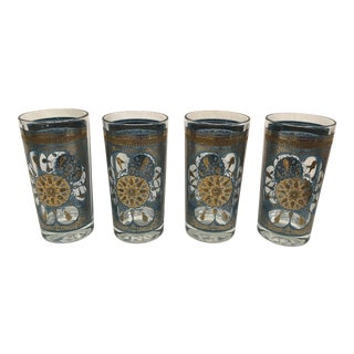 Teal & Gold Highball Glasses - Set of 4