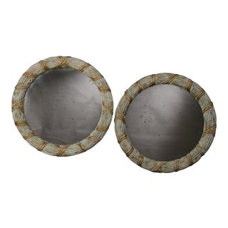 Pair of Vintage French Round Painted Mirrors (38 1/2″ diam)