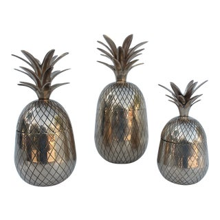Vintage Solid Brass Pineapples Containers - Set of 3