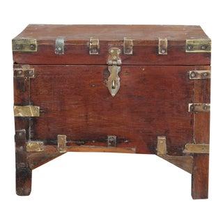 Wooden Brass Bound Campaign Box On Legs