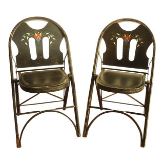 Art Deco Louis Rastetter Wood Folding Chairs - Pair