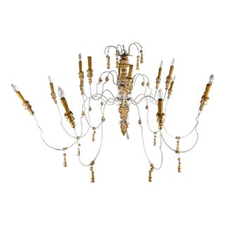 Huge Italian Iron and Carved Parcel Gilt Wood Chandelier
