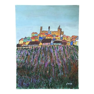 Original Scenic Landscape Tuscan Town Acrylic on Canvas Painting Signed