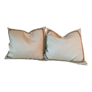 Gray and Gold Silk Wool Blend Accent Pillows - a Pair